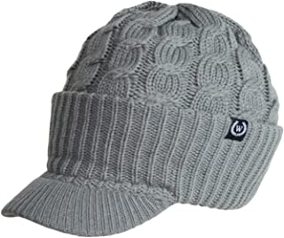 Newsboy Cable Knitted Hat with Visor Bill Winter Warm Hat for Women (Grey)
