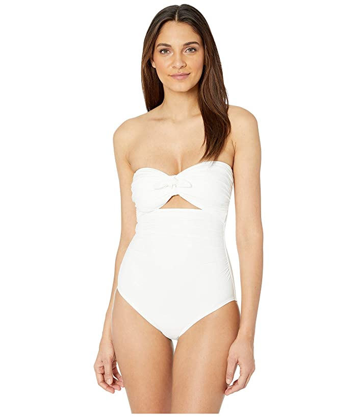 Kate Spade New York Grove Beach Tie Bandeau One-Piece Swimsuit w/ Removable Soft Cups (Fresh White) Women