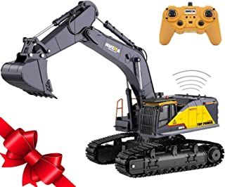Fully Functional 1:14 Scale 22 Channels Huina 592 Remote Control Excavator Rechargeable RC Toy Truck Construction Vehicle ...