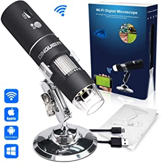 8 LED HD Eendoscope CAMWAY WiFi 1080P Microscope USB Digital Wireless Microscope Gift for Kids Interest in Science USB Microscopy to PC 50X-1000X Magnification,with 6 Standard Forceps