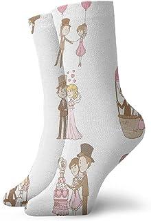 Fuliya, Calcetines cortos de longitud de pantorrilla suaves para boda, juego de garabatos para novia y novio, estilo romántico retro, calcetines para mujeres y hombres, ideales para correr