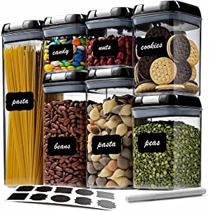 Wookon Airtight Food Storage Container Set With Easy Lock Improved Lids,Kitchen & Pantry Organization 7 Pieces BPA Free Plastic for Dry Foods & Liquids,Include10 Free Chalkboard Labels and 1 Marker-Black