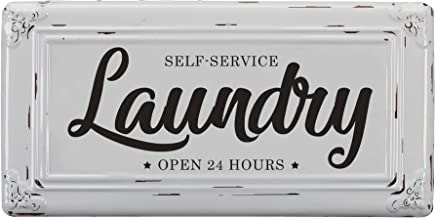 """Barnyard Designs Self-Service Laundry Wall Sign Vintage Primitive Country Laundry Room Home Decor 14"""" x 7"""""""