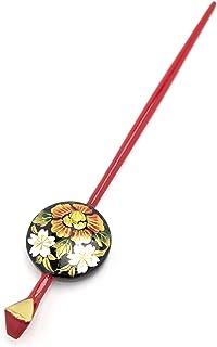 (ソウビエン)平打簪 かんざし 黒 赤 牡丹 桜 レトロ モダン ヘアアクセサリー