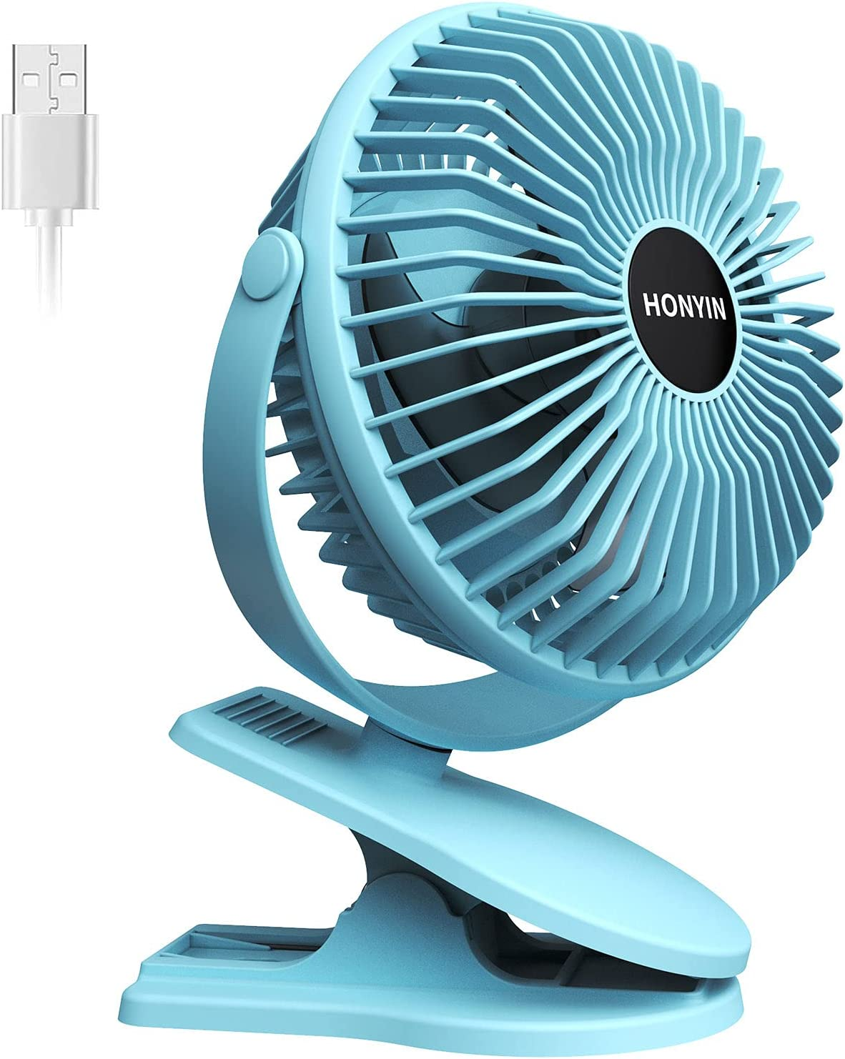 HONYIN 6 Inch Clip on Fan, 3 Speeds Small Fan with Strong Airflow, Portable USB Clip & Desk Fan with Sturdy Clamp -Quiet operation for Office Dorm Bedroom Stroller