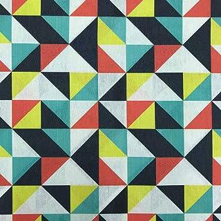 Kt KILOtela Stoff aus geharztem Segeltuch, fleckenabweisend, 100 % Baumwolle, 100 cm Länge x 140 cm Breite, geometrisch, Dreiecke, Gelb, Grün, Rot, Blau, 1 Meter