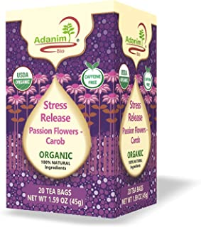 Adanim Bio Organic Passion Flower Tea Bags (Pack of 4) Stress Relief, Anxiety Release, Calming Blend - Passionflower Herba...