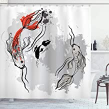 Japanese Decor Shower Curtain by Ambesonne, Aesthetic Digital Motley Fluctuate Setting of Super Koi Ink Marine Theme, Polyester Fabric Bathroom Set with Hooks , 84 Inches Extra Long, Orange and Grey