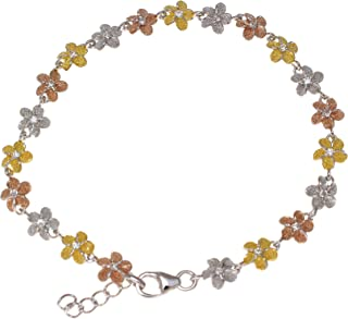 Arthur's Jewelry 925 Sterling Silver Yellow Rose Gold Tricolor Plated Hawaiian Plumeria Flower Bracelet 6mm 7