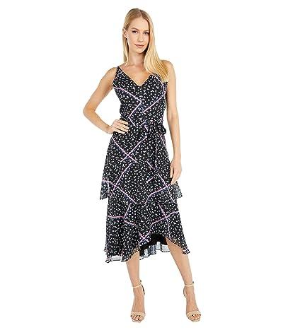 Sam Edelman Tiered Ribbon Print Dress (Black Multi) Women