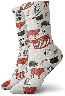 tyui7, Calcetines de compresión antideslizantes con patrón de carne Calcetines deportivos de 30 cm acogedores para hombres, mujeres, niños