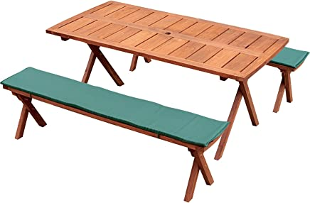 Rocking Table(ロッキングテーブル)? デラックスピクニックテーブル 3点セット 150幅 ブラウン クッション(グリーン)付き RXPT-150BR-C-GR