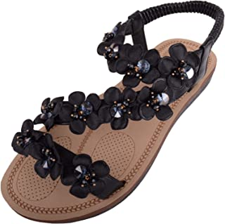 ABSOLUTE FOOTWEAR Womens Holiday/Summer/Wedding Sandals/Shoes with Floral Design