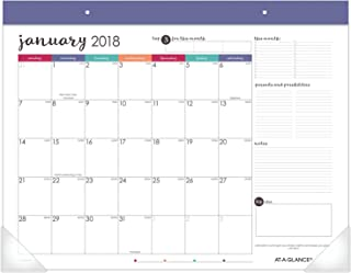 AT-A-GLANCE Monthly Desk Pad Calendar, Stickers, January 2018 - December 2018, 21-3/4