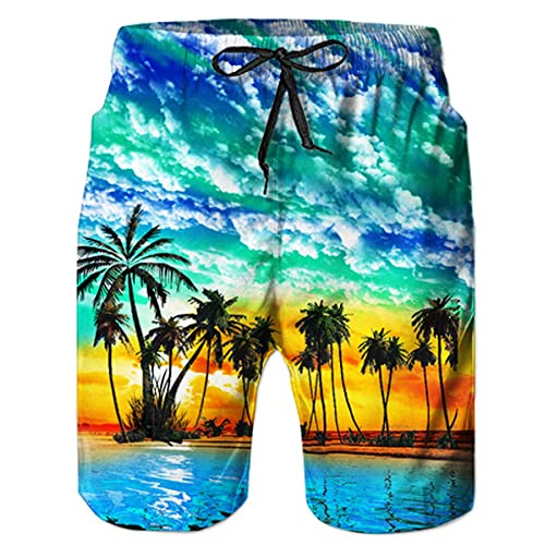 WWT Paris Mens Printed Beach Shorts with Mesh Lining//Side Pockets