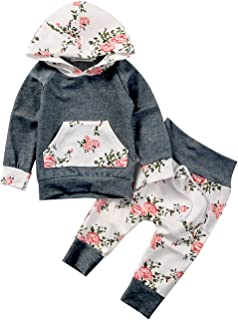 Baby Girls Long Sleeve Flowers Hoodie Top and Pants Outfit with Kangroo Pocket