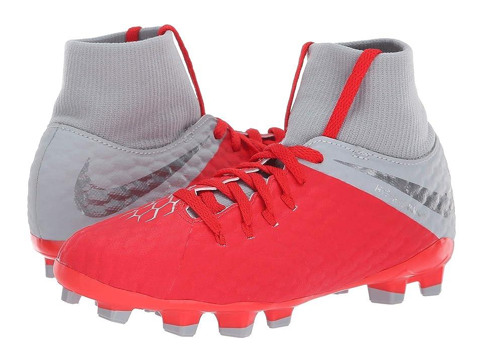 Nike Kids Jr. Hypervenom Phantom 3 Academy Dynamic Fit FG Soccer (Little Kid/Big Kid) (Light Crimson/Metallic Dark Grey/Wolf Grey) Kids Shoes