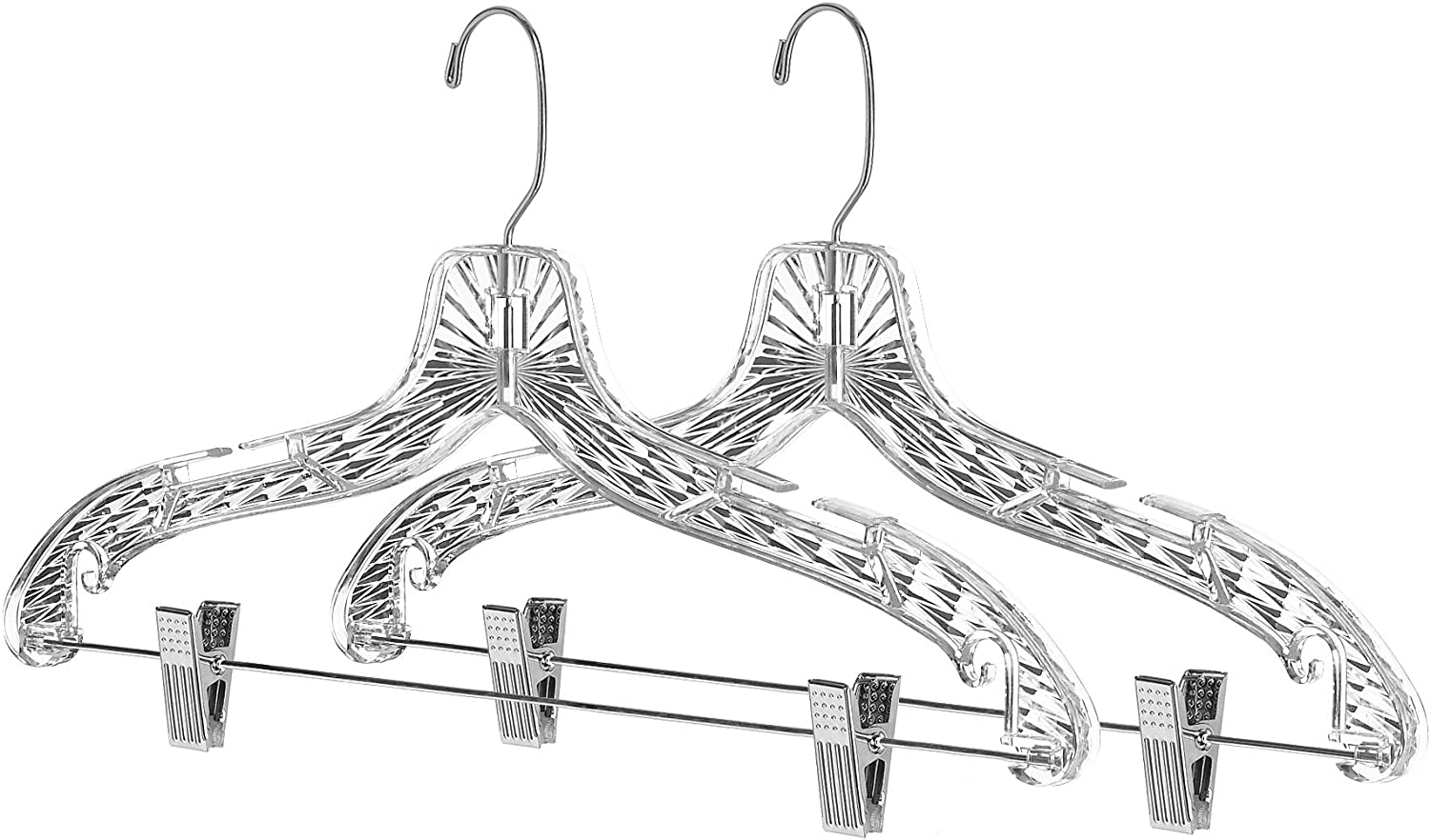 Whitmor Crystal Suit Hangers OFFicial mail order Clips with S Max 59% OFF 2