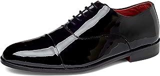 Carlos by Carlos Santana Men's Cap-Toe Tuxedo Oxford Dress Shoes - Black Calfskin Patent Leather