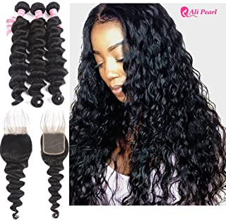 Ali Pearl Hair Brazilian Virgin Hair Loose Deep Wave With 4x4 Lace Closure For A Full Head Loose Deep Wave Closure with Bundles Loose Curly Hair Extentions (18 20 22+16 closure)