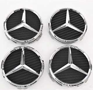puzhanyou Wheel Center Caps Carbon Fiber for Mercedes Benz 75mm - Raised Star Wheel Rim Insert Caps (4pcs) Carbon Fiber