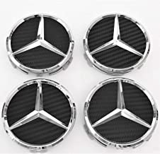 puzhanyou Wheel Center Caps Carbon Fiber for Mercedes Benz 75mm - Raised Star Wheel Rim Insert Caps (4pcs) Carbon Fiber