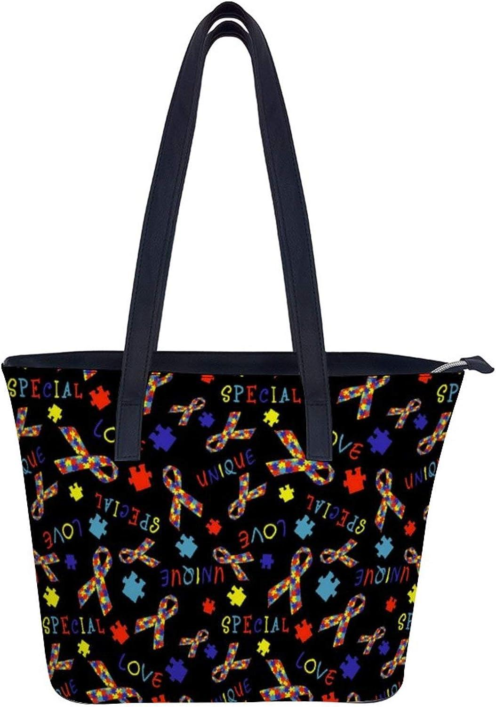 Novelty Fashion Women Handbag Tote Shoulder Bag Purse with Long Handle for Work School Shopping - Autism Awareness Love