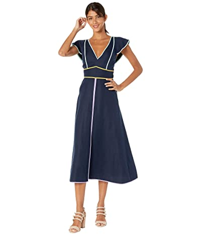Kate Spade New York Linen Contrast Trim Dress (Prisan Navy) Women