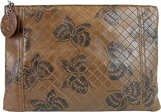 838cb77f24e0 Bottega Veneta Intrecciomirage Brown Leather Butterfly Clutch Pouch Bag  301499 8402