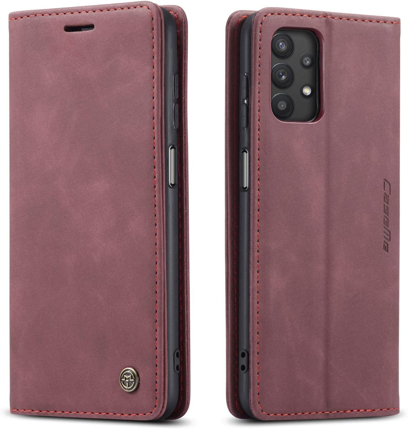 Kowauri Flip Case for Galaxy A32 5G [NOT Compatible with Galaxy A32 4G],Leather Wallet Case Classic Design with Card Slot and Magnetic Closure Flip Fold Case for Samsung Galaxy A32 5G (Wine red)