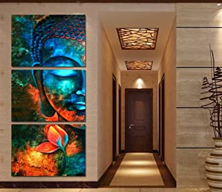 Framed 3pcs Abstract blue Buddha Modern home decor Canvas Print Painting Wall Art Picture For Living Room decor picture PT1056,50x70cmx3pcs,Framed