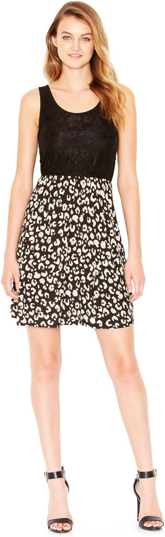 Kensie Womens Lace Top Animal Print Casual Dress
