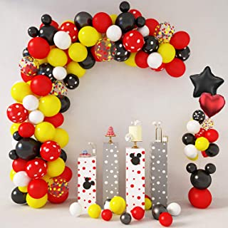 129 Pcs Cartoon Mouse Balloons Arch Garland Kit 18'' 12'' 10'' 5'' Foil Confetti Black Red Yellow White Latex Balloons for Mickey Theme Birthday Party Supplies Decorations with Tying Tool, Balloon Strip, Glue Points & Ribbon