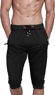 Men's Cotton Casual Shorts 3/4 Jogger Capri Pants Breathable Below Knee Short Pants with Zipper Pockets