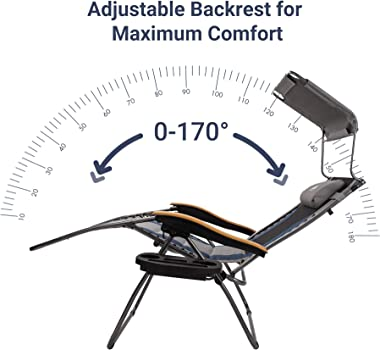 Coastrail Outdoor Zero Gravity Sun Shade 400lbs Capacity Padded Seat Cool-Mesh Back Reclining Lounge Chair Plus Pillow, Cup H