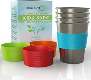Stainless Steel Cups for Kids and Toddlers 8 oz. with Silicone Sleeves - Stainless Steel Sippy Cups for Home & Outdoor Activities, BPA Free Healthy Unbreakable Premium Metal Drinking Glasses (4-Pack)