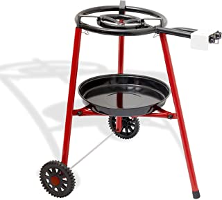 Ringg No239 - Paellera multifuncional con soporte robusto con ruedas (40 cm, butano/propano, soporte robusto con ruedas, dos anillos/cocción para paella al aire libre, ideal para camping y barbacoa)