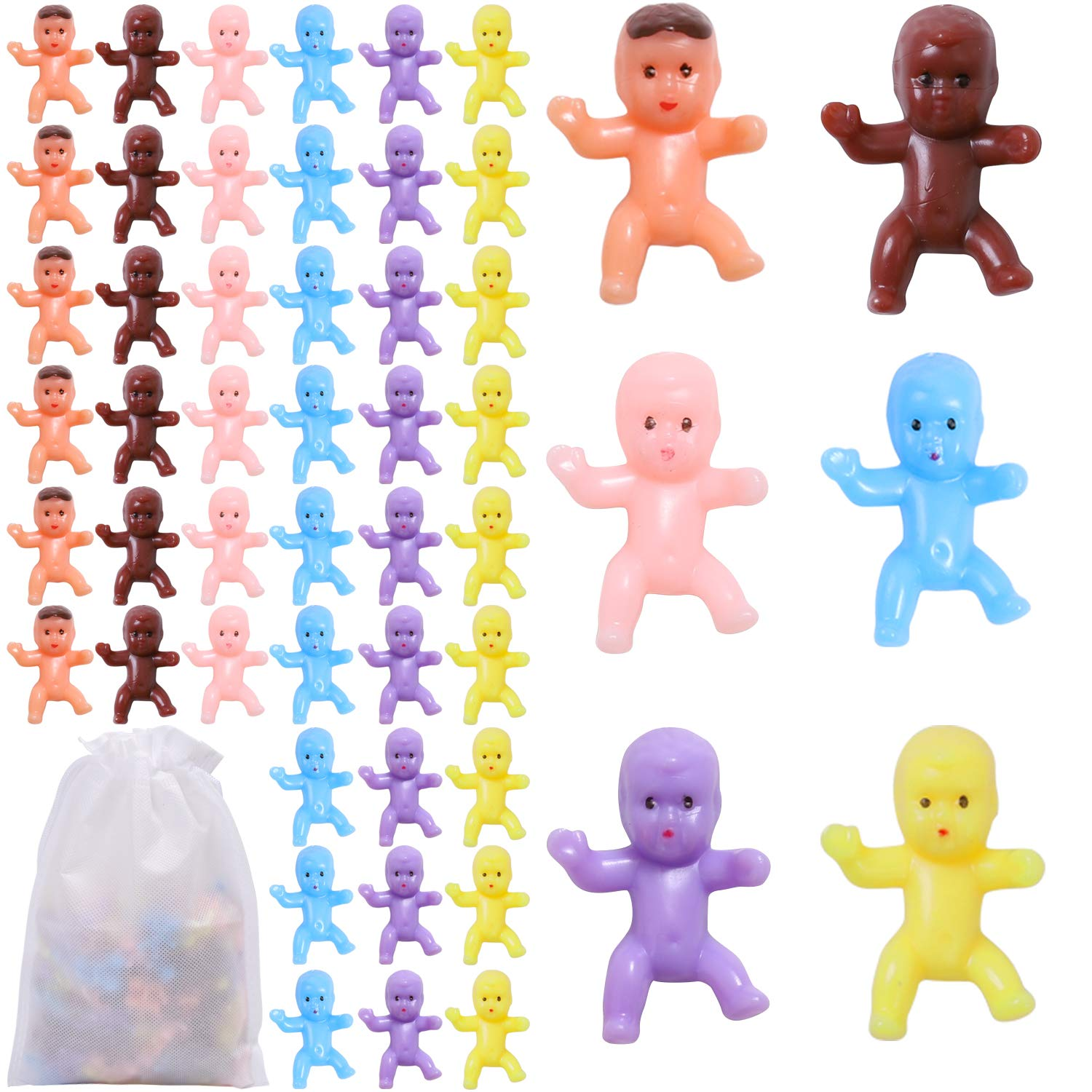 90 Pieces Mini Plastic Babies Baby Shower Games Party Ice Cube Party Decorations,1 inch Plastic Babies Doll for Baby Bathing and Crafting Latin, Dark Brown, Pink, Yellow, Purple, Blue
