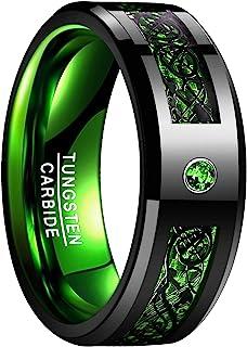 خاتم رجالي NUNCAD خاتم الأولاد 8 مم من كربيد التنجستن خاتم أسود سلتيك تنين أخضر ألياف الكربون حزام زفاف حجم 5-15