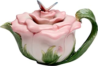 هدايا كوزموس ، إبريق شاي على شكل فراشة على الورد، سيراميك، ارتفاع 13.7 سم