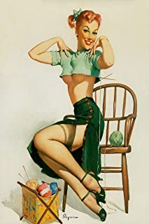 A Spicy Yarn Artist Gil Elvgren Vintage Classic Pin Up Girl Poster Print - 18x24