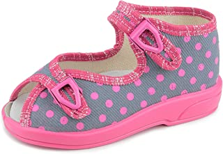 Zetpol Klaudia 5817 Little Girls White Hearts Pattern on Navy Blue Natural Canvas Hook-and-Loop Mary Jane Flat