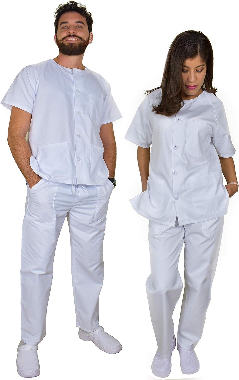 BeBright Uniformes Sanitarios Mujer y Hombre, Pijama Sanitario Blanco, Pedir una Talla Inferior a la Habitual