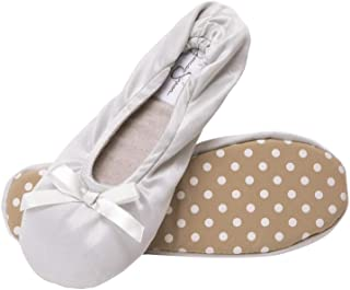 Jessica Simpson Women's Satin Ballerina Yoga Slipper with Bow
