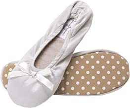 Jessica Simpson Womens Satin Ballerina Yoga Slipper with Bow