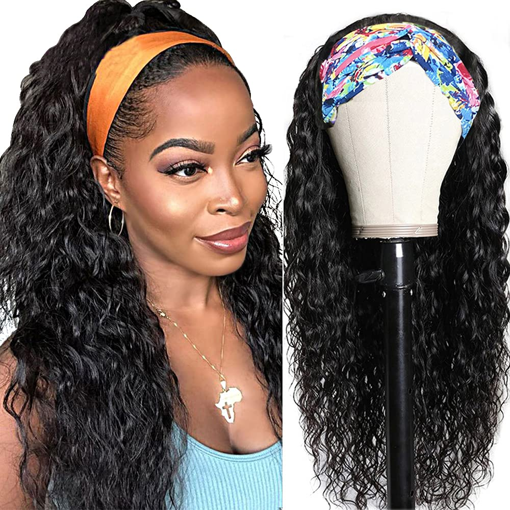 Water Wave Headband Wig Human Hair Wigs Lace Black New life for online shopping Non Women