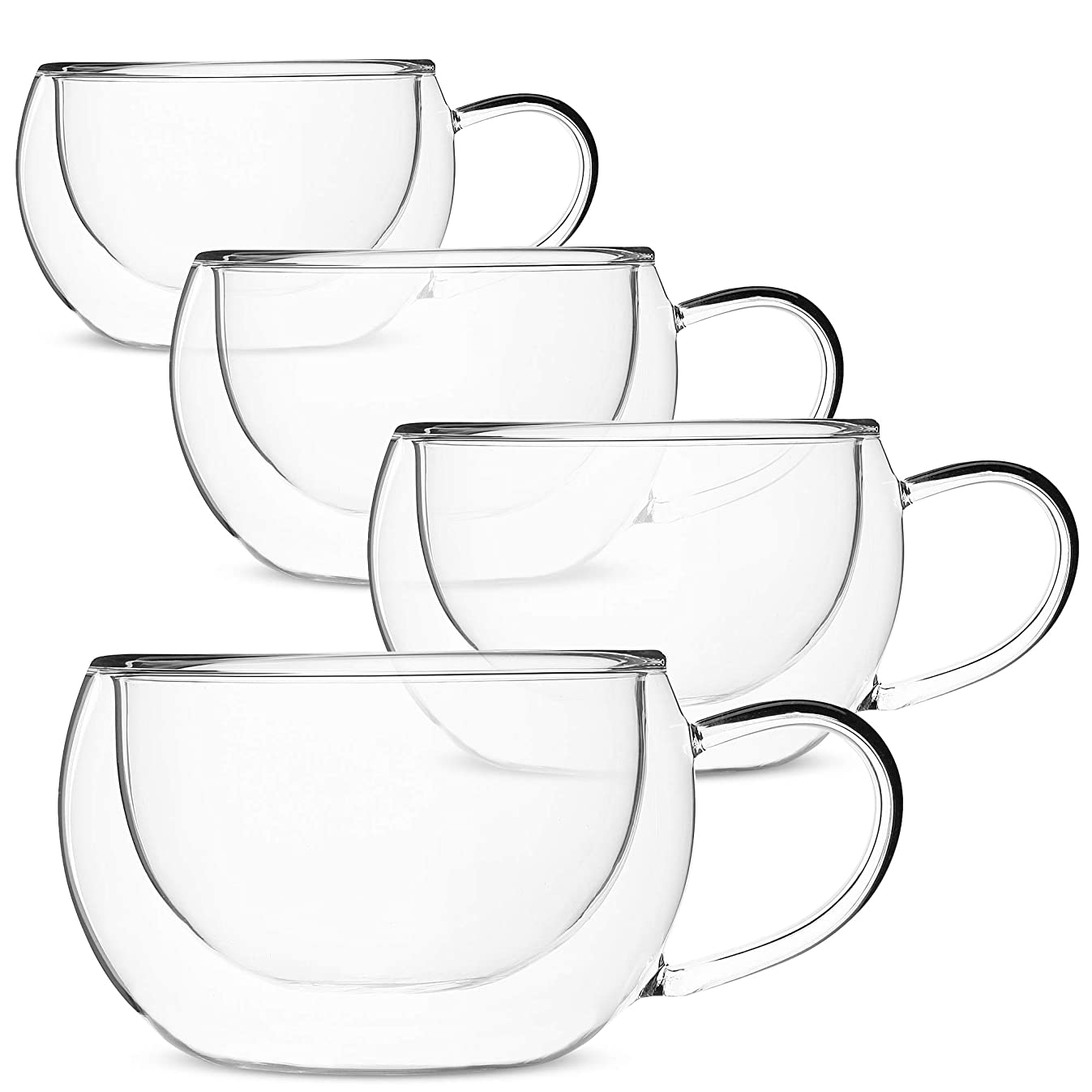 BT?T- Insulated Coffee Cups, Set of 4 (9 oz, 270 ml), Double Wall Glass Tea Cups, Glass Cups, Glass Mug, Glass Coffee Cups, Latte Cups, Latte Mug, Clear Mugs, Glass Cappuccino Cups, Glass Coffee Mugs