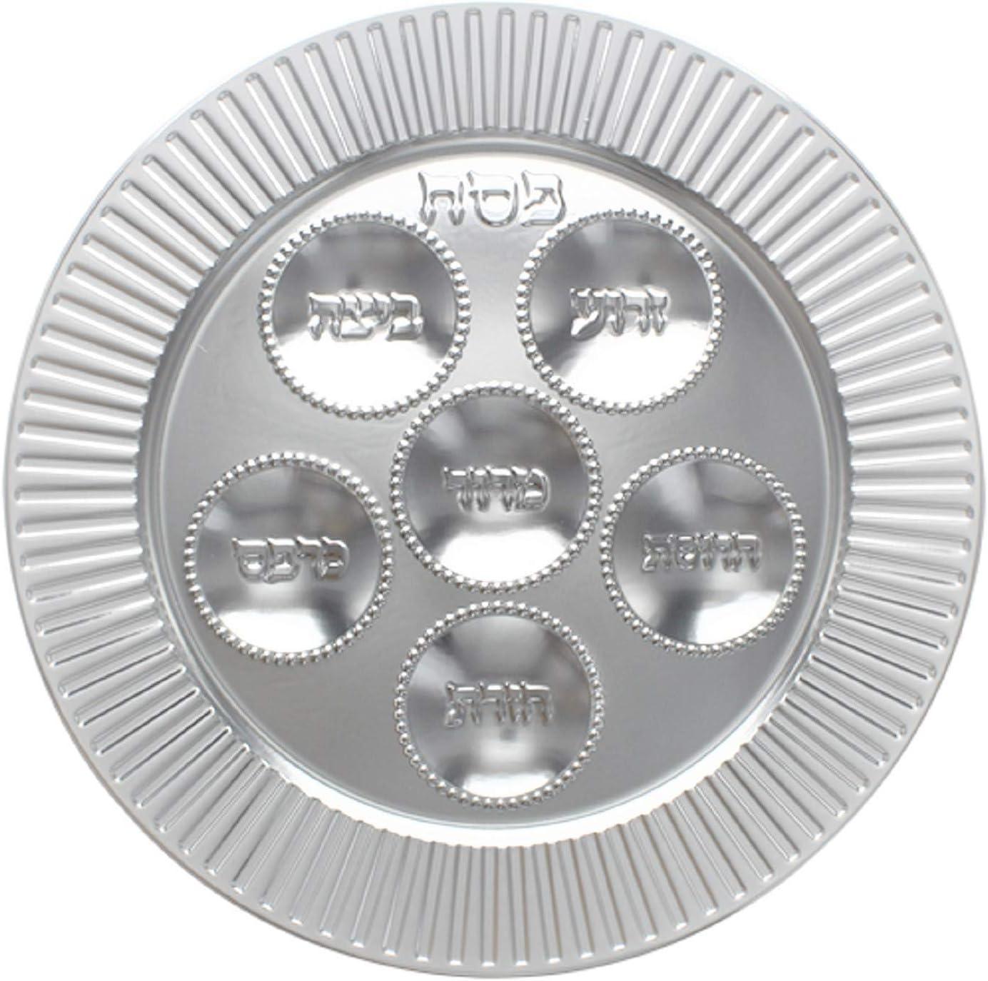 Passover Plastic Seder plate 5 pack Superlatite Traditional D Classic Silver 13
