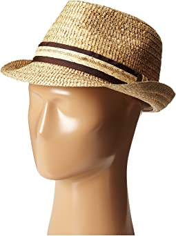 Tommy Bahama - Burned Raffia Fedora with Overlay Band X