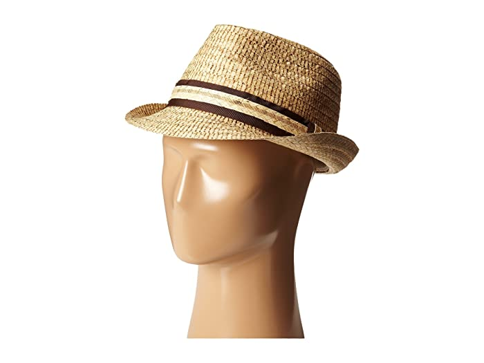 Tommy Bahama Burned Raffia Fedora with Overlay Band X (Natural) Fedora Hats